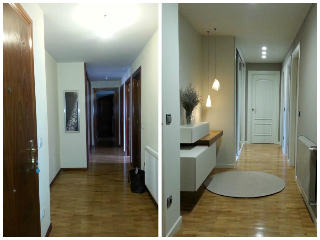 antes y después hall pasillo vivienda